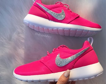 40e89786b2fe Blinged Women s Girls Swarovski Nike Roshe One Shoes Pink Customized With  Swarovski Crystal Rhinestones Bling Nike