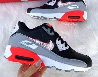 f770c0b038239 Swarovski Nike Womens Girls Air Max 90 SE Leather Customized With Swarovski  Crystals Bling Nike Shoes
