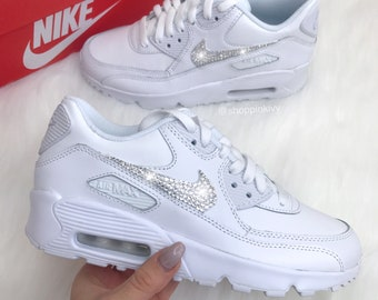 Swarovski Nike Womens Girls Air Max 90 SE Leather Customized With Swarovski  Crystals Bling Nike Shoes 20a4d5bfe