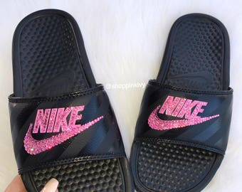 Swarovski Nike Benassi Print Slide Sandals customized with Swarovski  Crystals Bling Nike 03d60f2d1