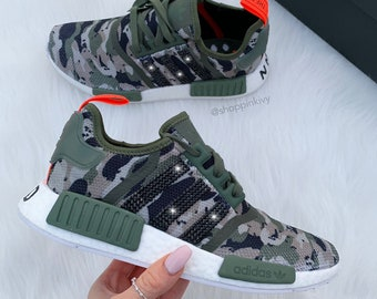 Camo Swarovski Adidas Womens Girls NMD Customized With Swarovski Crystals Bling  Nike Shoes bc2d94c7c