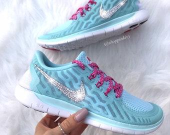 Blinged Girls  Womens Nike Free Running Shoes Pink Customized With  Swarovski Crystal Rhinestones Bling Nike 600845e46
