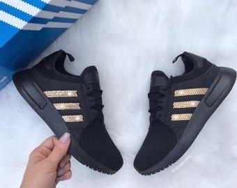 sale retailer 6a184 564c5 Gold Swarovski Adidas Originals XPLR Girls Womens Casual Shoes