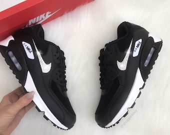Swarovski Nike Air Max 90 Premium Shoes Black Blinged Out With Swarovski  Crystals Bling Nike Shoes ce056aa89