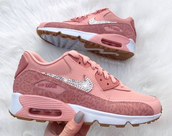 Swarovski Leopard Nike Womens Girls Air Max 90 SE Leather Customized With  Swarovski Crystals Bling Nike Shoes ae558c20a5