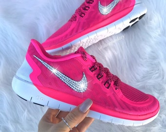 Blinged Girls  Womens Nike Free Running Shoes Pink Customized With  Swarovski Crystal Rhinestones Bling Nike 0224d2e59243