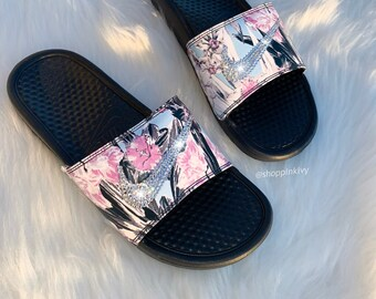 92e3624f8eb7 Women s Swarovski Nike Benassi Slide Sandals customized with Swarovski  Crystals
