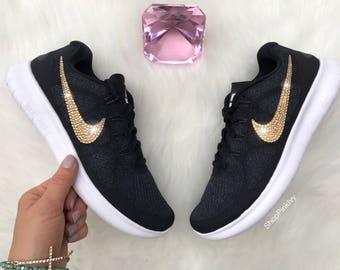Gold Swarovski Nike Free RN Running Shoes Customized With Swarovski  Crystals Bling Nike Shoes 3bca11898