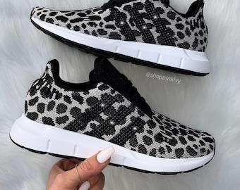 3b816494c Swarovski Leopard Adidas Swift Run Casual Shoes