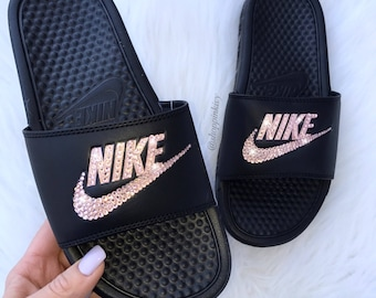 f33d9a60f9c5c2 Rose Gold Swarovski Nike Benassi Slide Sandals customized with Swarovski  Crystals