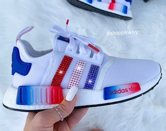 new arrival e6d08 da36f Swarovski Adidas Womens Girls NMD Customized With Swarovski Crystals Bling  Nike Shoes