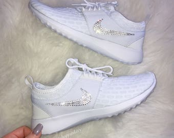 SIZE 7 Swarovski Nike Bling Nike Shoes White Juvenate Customized With  Swarovski Crystal Rhinestones 41b3ad33c8b5