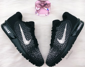 SIZE 11 Swarovski Nike Air Max Sequent 2 Running Shoes Black Blinged Out  With Swarovski Crystals Bling Nike Shoes e05a35afae