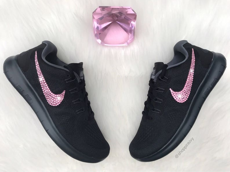 cde1d6a5987c9 Swarovski Nike Free RN Running Shoes Customized With Pink Swarovski  Crystals Bling Nike Shoes