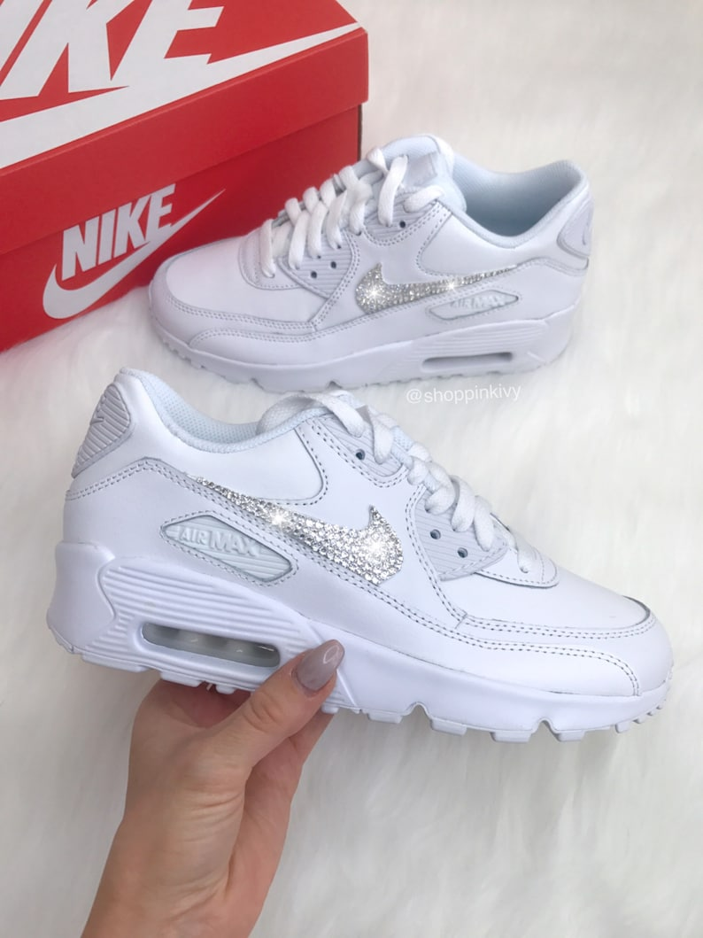 new concept fc4d9 d4838 Swarovski Nike Womens Air Max 90 SE Leather Customized With   Etsy