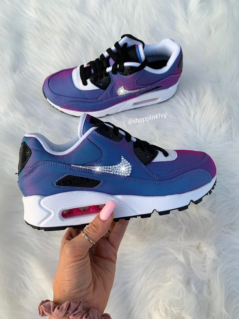 new style 838f9 01492 Swarovski Nike Air Max 90 Premium Shoes Blinged Out With Swarovski Crystals  Bling Nike Shoes Blue Pink
