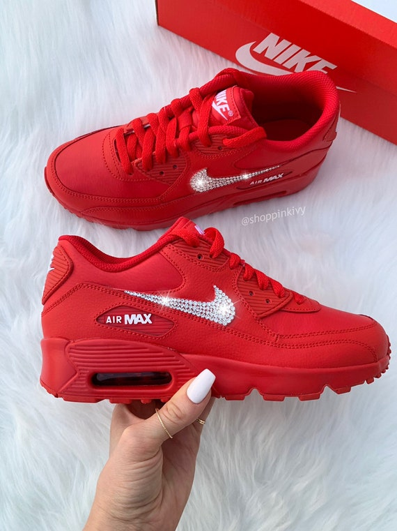 Swarovski Nike Air Max 90 Premium Shoes with Swarovski Crystals Red Nike Shoes