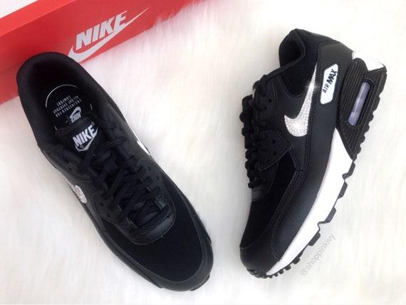 Swarovski Nike Air Max 90 Premium Shoes Black Blinged Out With Swarovski Crystals Bling Nike Shoes Black