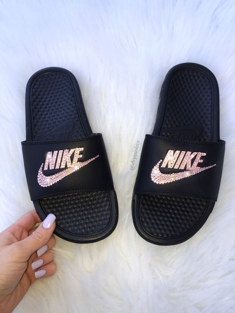 1680bbfddcf2 Rose Gold Swarovski Nike Benassi Slide Sandals customized with