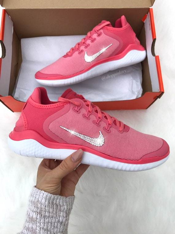 Swarovski Pink Nike Free Running Shoes Customized With  f22064da1629
