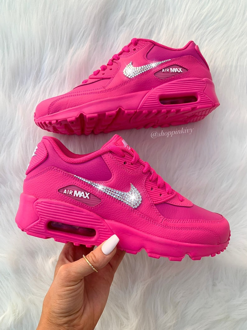 san francisco fe963 e8054 Swarovski Nike Air Max 90 Premium Shoes Blinged Out With Swarovski Crystals  Bling Nike Shoes Pink