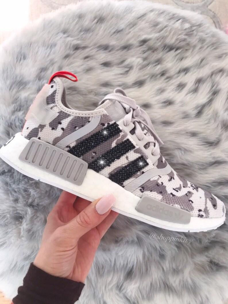promo code 295ba 52a47 Tan Camo Swarovski Adidas NMD Runner Casual Shoes