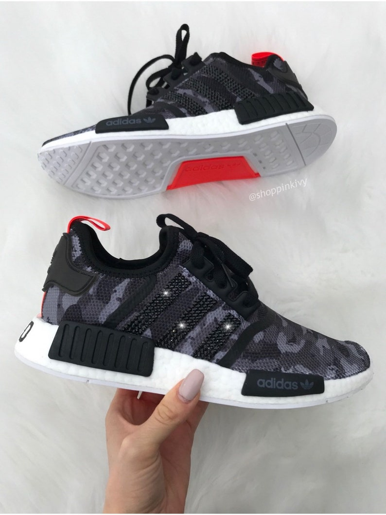 5cee7d2b90753 Camo Swarovski Adidas Womens Girls NMD Customized With