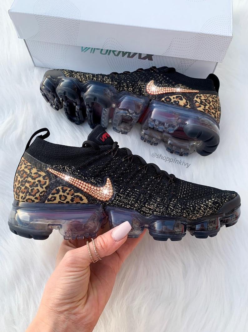 d30347657c7f Swarovski Nike Leopard Vapormax Flyknit 2 Shoes Blinged Out