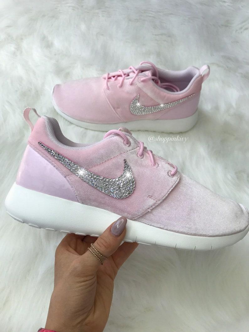 8de64b8c38f36 Blinged Women s Girls Swarovski Nike Roshe One Shoes Pink