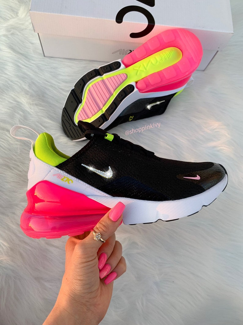 af95e8d09be79 Swarovski Nike Air Max 270 Shoes Blinged Out With Swarovski Crystals Bling  Nike Shoes Neon Pink Black