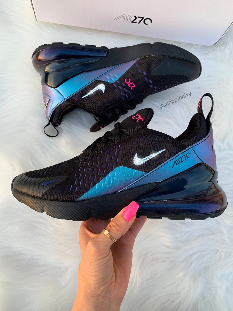 Swarovski Nike Air Max 270 Schuhe Blinged Out Mit Swarovski Kristallen Bling Nike Schuhe Schwarz Blau