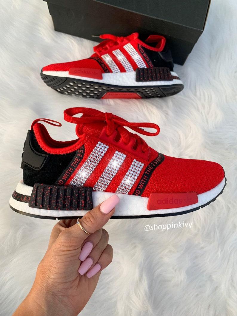 Swarovski Adidas Womens NMD Customized With Swarovski Crystals Bling Nike Shoes Red