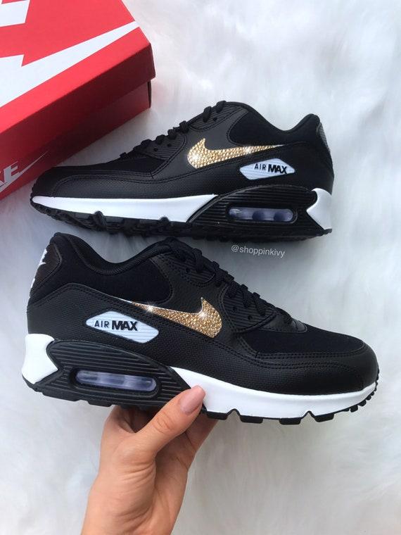 Shoes Black Swarovski Shoes Crystals Swarovski Premium 90 Out Nike Blinged Max Nike Bling Air With aqxvw4YX
