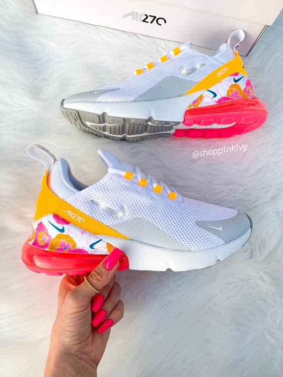Swarovski Nike Air Max 270 Schuhe Blinged Out mit Swarovski Kristalle Bling Nike Schuhe Floral