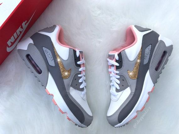 Swarovski Nike Womens Girls Air Max 90 SE Leather Customized  941bd2752