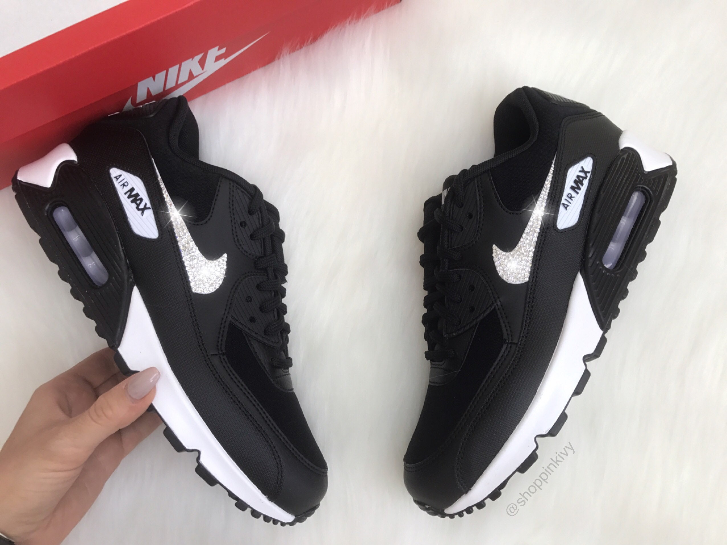 Swarovski Nike Air Max 90 Premium Shoes Black Blinged Out With  e37131acc3