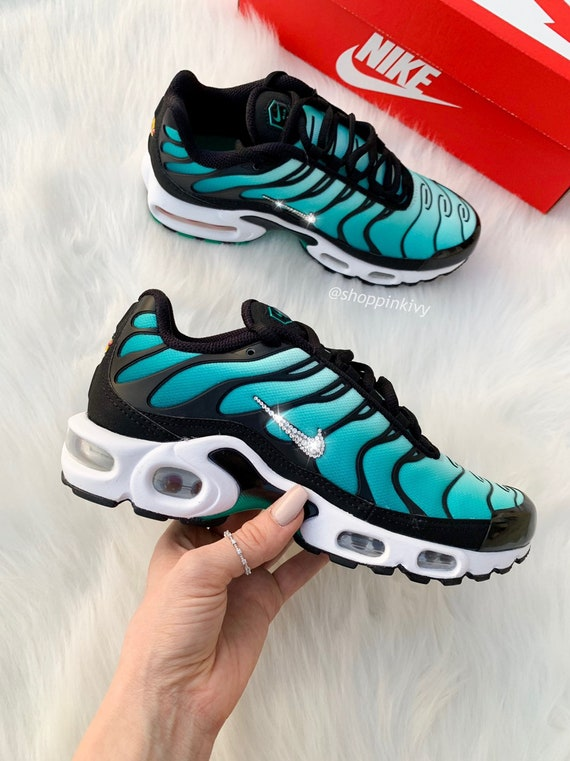 Swarovski Nike Air Max Plus Shoes Blinged Out With Swarovski Crystals Bling Nike Shoes Teal