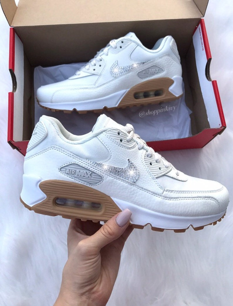 online store 0368f 7af49 SIZE 8 Swarovski Nike Air Max 90 Premium Shoes Blinged Out   Etsy