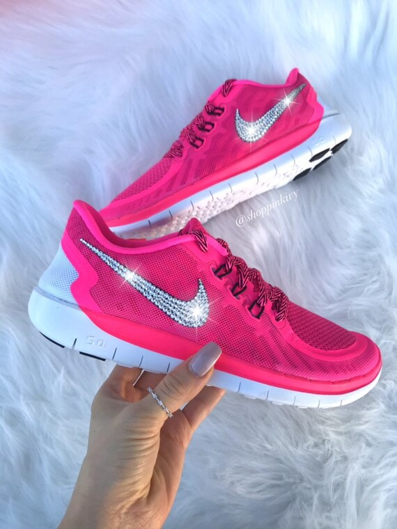 Blinged Girls  Womens Nike Free Running Shoes Pink  d6fd73e8c