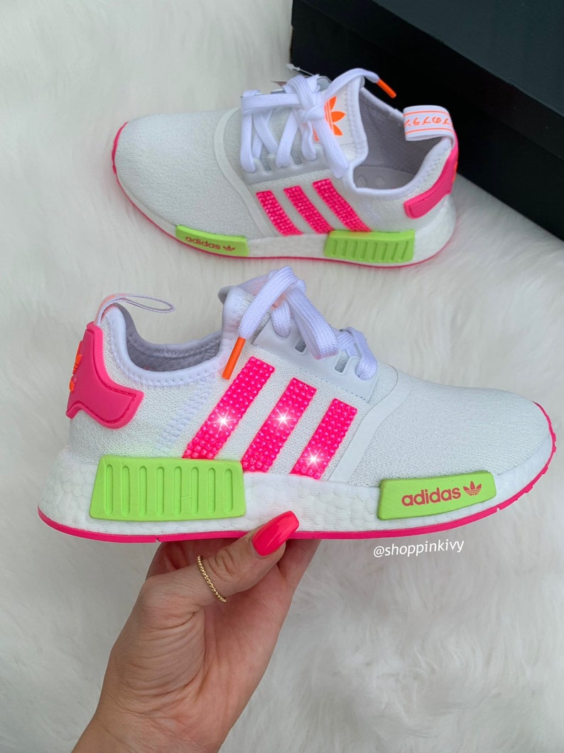pretty nice 3f652 6d05a Swarovski Adidas NMD Runner Casual Shoes Pink Crystals