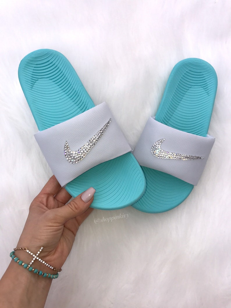 super popular da888 5f7a1 Swarovski Nike Kawa Slide Sandals customized with Swarovski   Etsy