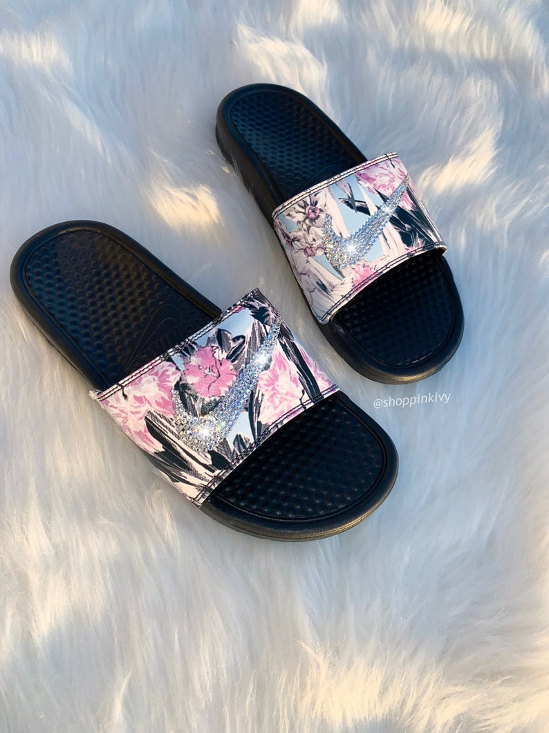 wholesale dealer caa06 69c38 Women s Swarovski Nike Benassi Slide Sandals customized   Etsy
