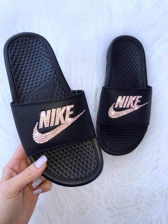 11337259753 Rose Gold Swarovski Nike Benassi Slide Sandals customized with