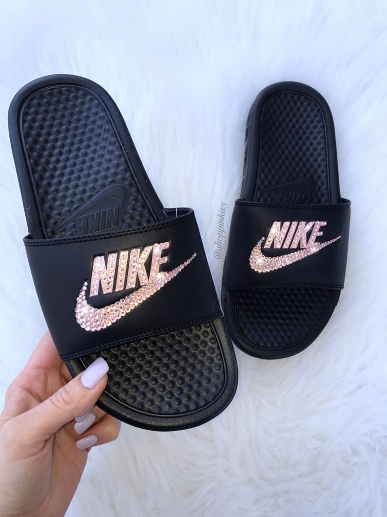 new styles bfa45 ad5db Rose Gold Swarovski Nike Benassi Slide Sandals customized with   Etsy
