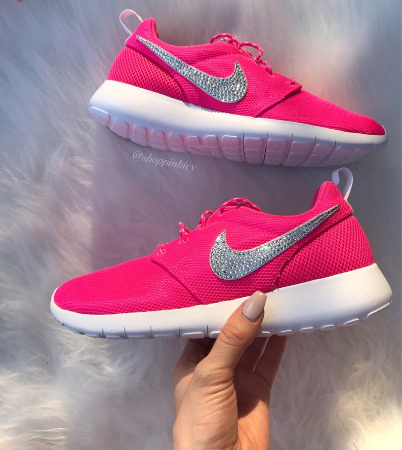 bbcb54cbb277f8 Blinged Women s Girls Swarovski Nike Roshe One Shoes Pink