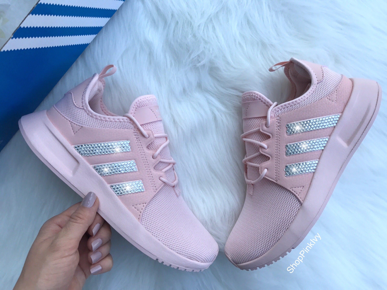 the latest 73de0 95490 Pink Swarovski Adidas Originals XPLR Girls Womens Casual Shoes   Etsy