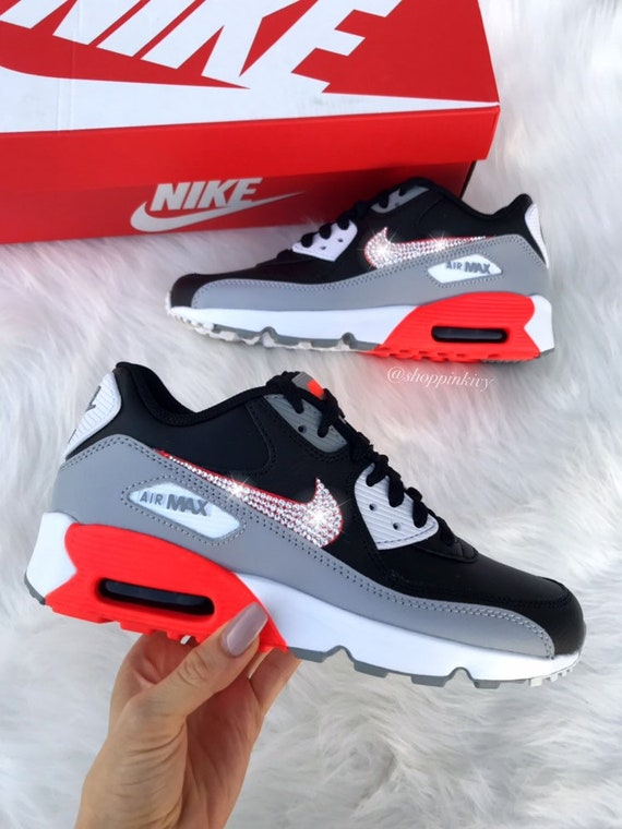 Swarovski Nike Womens Girls Air Max 90 SE Leather Customized With Swarovski Crystals Bling Nike Shoes Grey