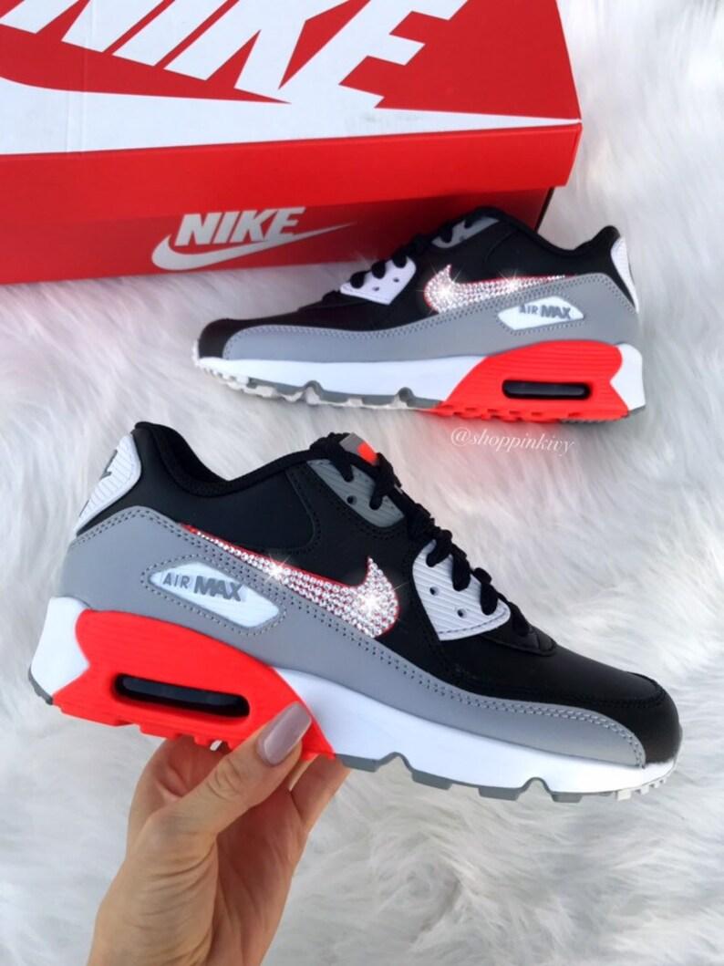 Swarovski Nike Womens Girls Air Max 90 SE Leather Customized With Swarovski Crystals Bling Nike Shoes Grey