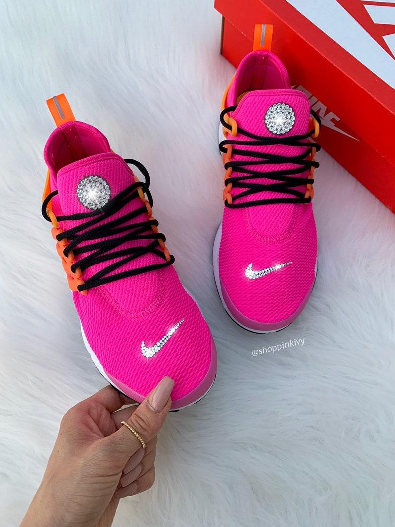 newest 2f7ee 98d46 Swarovski Nike Air Presto Shoes customized with Swarovski Crystals Pink