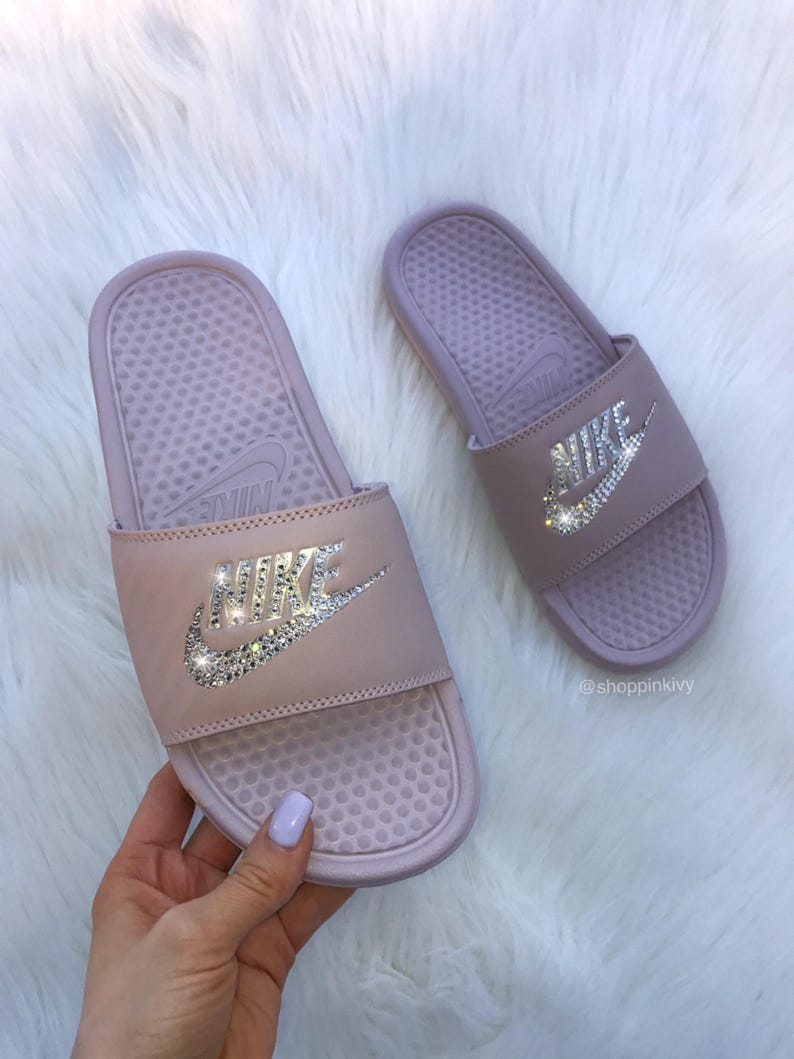 732883a02b278 Women's Swarovski Nike Benassi Slide Sandals customized with Swarovski  Crystals Mauve
